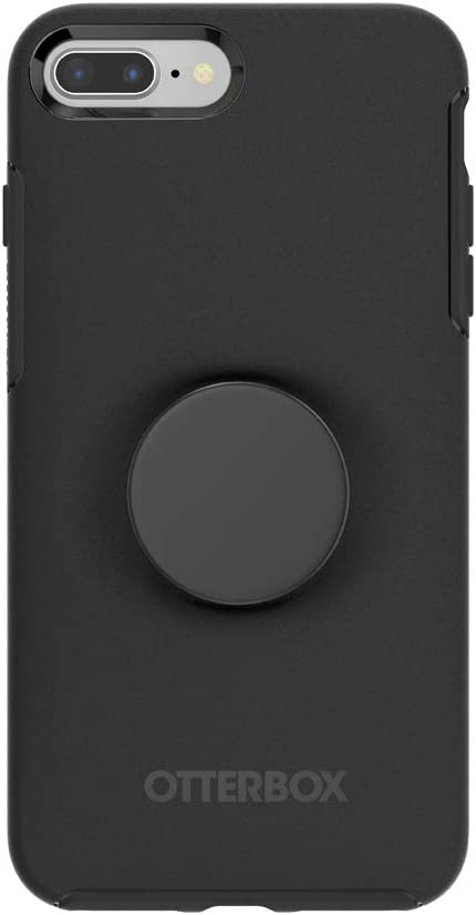 Otter + Pop for iPhone 7+ and 8+: OtterBox Symmetry Series Case with PopSockets Swappable PopTop - Black and Aluminum Black