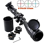 Higoo Heavy Duty Riflescope 6-24x50AOMTLDS Red & Green & Blue Illuminated Mil-dot Reticle Rifle Scope + Sunshade + Flip-up Caps + Rail Mounts