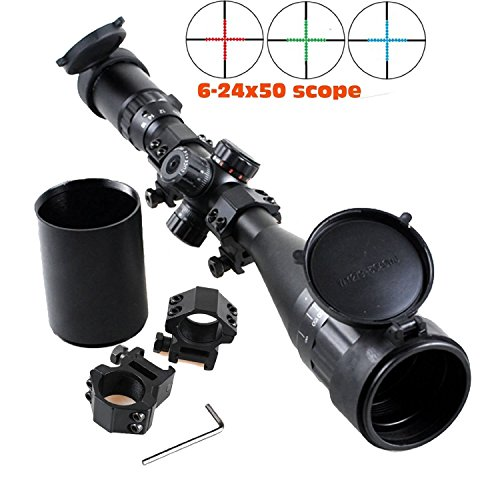 Higoo Heavy Duty Riflescope 6-24x50AOMTLDS Red & Green & Blue Illuminated Mil-dot Reticle Rifle Scope + Sunshade + Flip-up Caps + Rail Mounts by Higoo