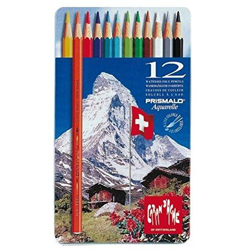 Cornici Paglia Caran d'Ache Prismalo 12 matite - MATITE Colorate ACQUERELLABILI, Scatola in Metallo, 12 Pezzi