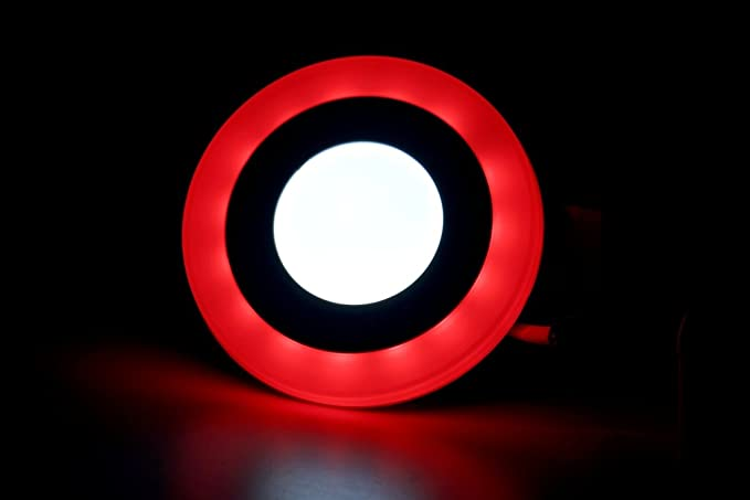 6W LED Side Red Round Panel Light Ceiling 3D Effect Lighting (Double Color) & 6W LED Side Red Round Panel Light Ceiling 3D Effect Lighting (Double ...