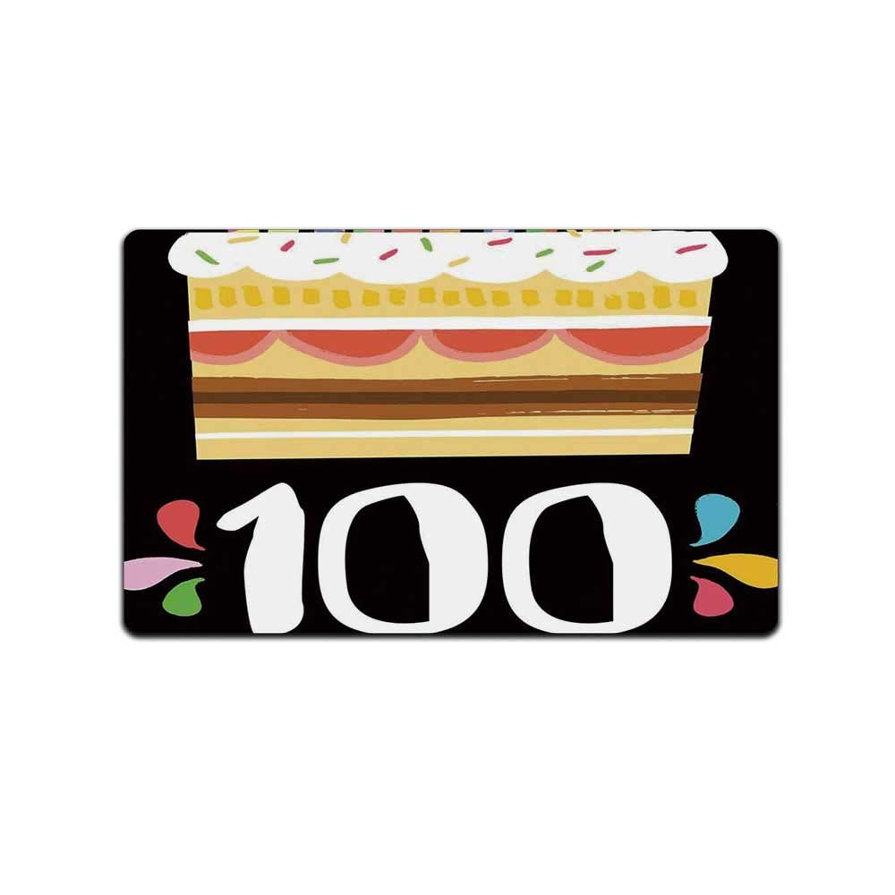 YOLIYANA 100th Birthday Decorations Practical Doormat,Old Legacy 100 Birthday Party Cake Candles on Black Backdrop for Home Office,31'' Lx19 W