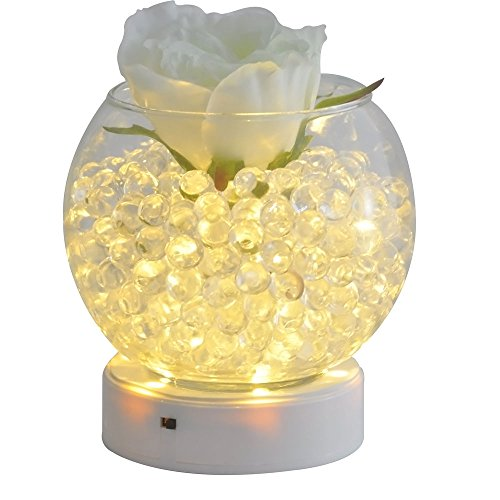 Kitosun 4inch Round LED Base Vase Light with 9 Super Bright Leds for Centerpiece Vase Lighting Decoration Operated by 3aa Batteries Warm White Lights (Warm White)