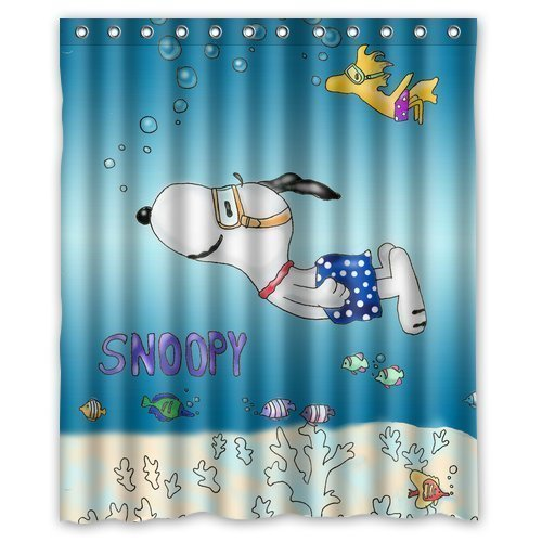 Mirryderr HYGLQH Snoopy in the Sea Shower Curtain, Custom Waterproof WL HYSCU041 ()