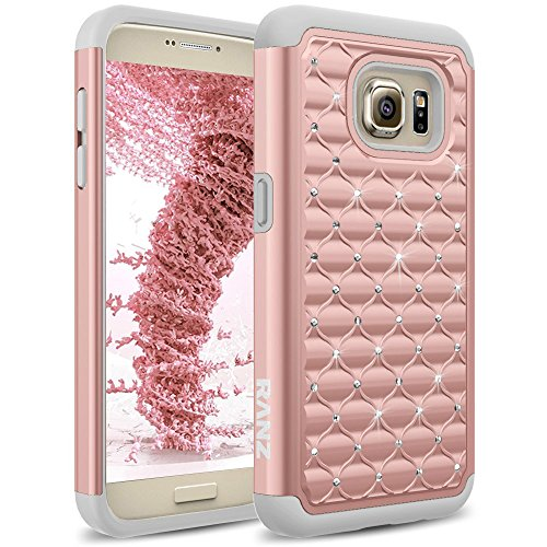 RANZ SAMS7-SPFPD- Galaxy S7 Case, Spot Diamond Studded Bling Crystal Rhinestone, Dual Layer Hybrid Cover, Silicone Rubber Skin Hard Case - Grey/Rose Gold