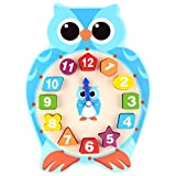 Shape Sorting Clock Learn to Tell Time Wooden Counting Numbers Owl Puzzle Toy for Toddlers 3 Year Olds