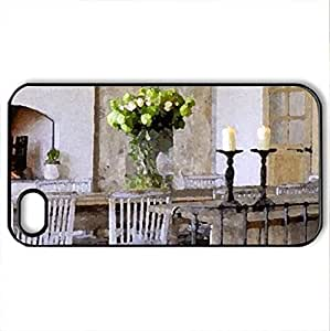 fireplace - Case Cover for iPhone 4 and 4s (Houses Series, Watercolor style, Black)