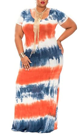 dc23f244923 Women s Plus Size Color Block Tie Dye Stripes Boho Summer Beach Long Maxi  Dresses Orange XL