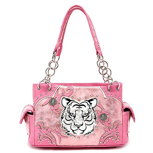 Cowgirl Trendy White Tiger Face Synthetic Leather Purse w. Conceal Carry Pocket, Untamed Pink