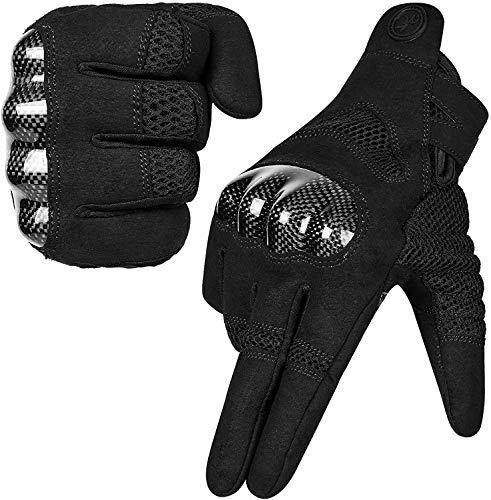 MOREOK Motorradhandschuhe, Touchscreen Motorrad Handschuhe Mit 100% Carbon Harter Knöchelschutz Sport Handschuhe für…