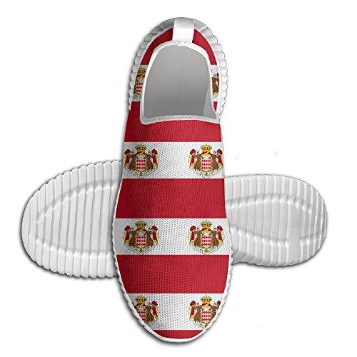 Mocassino Creativo Monaco Bandiera Donna Mocassino Uomo Scarpe Da Corsa Mesh Traspirante Outdoor Sport Scarpe Da Passeggio Bianco