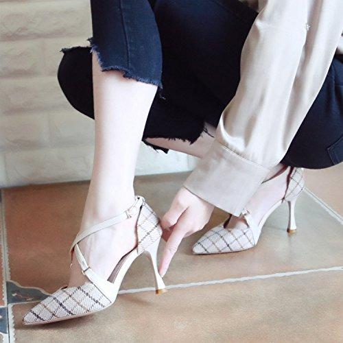 Xue Qiqi Corte Solo Zapatos Zapatos Mujer Zapatos de Mujer Correa de Sujeción ranurada Hechizo Punta Fina de Color con la luz del Alto-Heel Shoes Beige