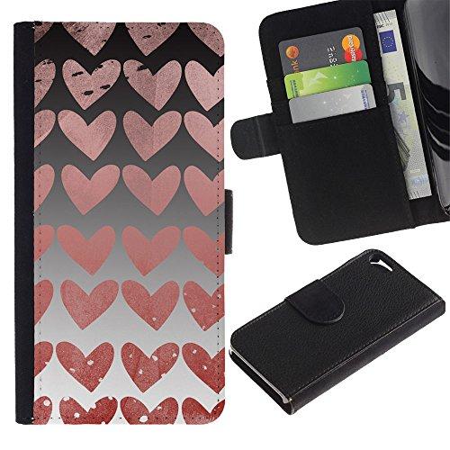 Paccase / Flip Cuir Portefeuille Housse Fente pour Carte Coque Étui de Protection pour - Hearts Wallpaper Pink Love Relationship - Apple Iphone 5 / 5S