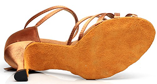 CFP 7127 Womens Practice Latin Tango Cha-cha Professional Dance Shoes Wedding Party Custom Heel Open Toe Satin Ankle Strap Brow BTcFjp