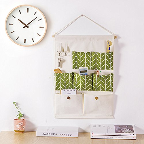Space Saver Wall - Shiaon Wall Door Closet Storage Bag Cloth Bedroom Space Saver Bath Multi-Layer Hanging Organizer(7 Pockets,2 Hooks) Wooden Stick and Linen Cotton Fabric Green