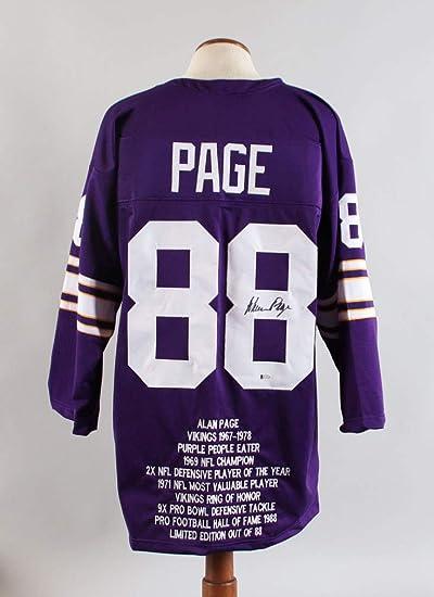 Alan Page Signed Stat Jersey Vikings - COA BAS at Amazon's Sports ...