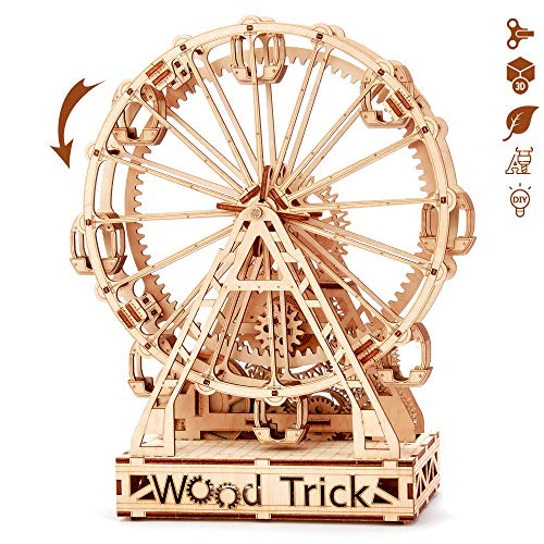 Wood Trick Ferris Wheel Toy Mechanical Model, Observation Wheel - 3D Wooden Puzzle, Eco Wooden Toys, Assembly Model, Brain Teaser for Adults and Kids