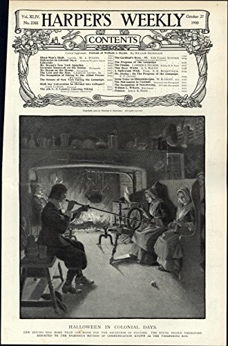 Halloween Colonial Days youth whispering rods 1900 vintage newsprint -