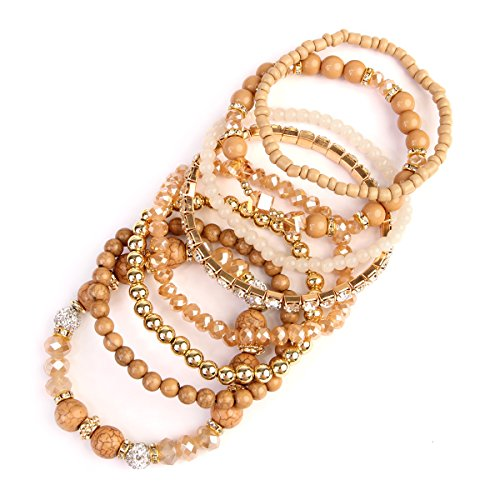 MYS Collection Riah Fashion Women's Multi Layers Stretch Beaded Bangle Bracelet (Light Brown) - Beaded Stretch Bangle Bracelet