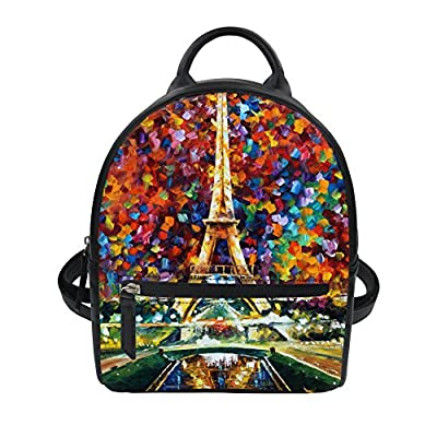 PU Leather Shoulder Bag,Watercolor Peacock Feather Backpack,Portable Travel School Rucksack,Satchel with Top Handle