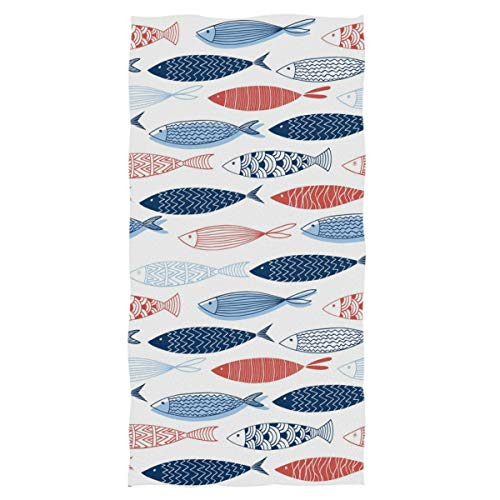 Naanle Colorful Fishes Pattern Soft Highly Absorbent Large Decorative Hand Towels Multipurpose for Bathroom, Hotel, Gym and Spa (16 x 30 Inches,Floral White)