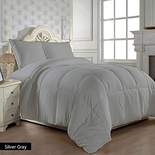 US Bedding Hypoallergenic Egyptian Cotton 300 GSM Warm Comforter/Quilt (Silver Grey, Full/Queen) Luxurious 300 Thread Count By
