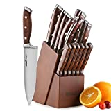 Knife Set,15-Piece Kitchen Knife Set with Block Wooden,Chef Knife Set with Sharpener,Germany High