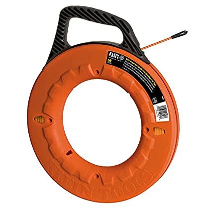 Image of Klein Tools 56059 Fish Tape 200-Foot Is Non-Conductive Fiberglass, Flexible, Pull Line To 500 Lb