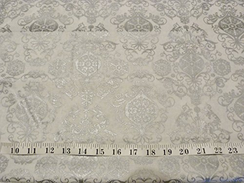 Joanns White With A Shiny Silver Damask Style Design On 100  Cotton Fabric