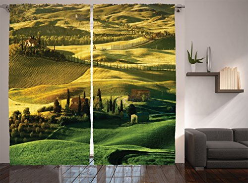 Ambesonne Tuscan Decor Collection, Trees Meadow Hill Ancient Farm House and Landscape in Tuscany Picture, Window Treatments, Living Room Bedroom Curtain 2 Panels Set, 108 X 90 Inches, Green Khaki Christmas Tree In Living Room Photos