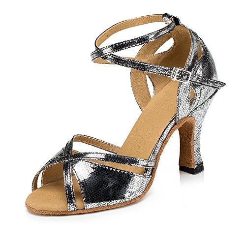 Miyoopark , Damen Tanzschuhe , - Gray-7.5cm heel - Größe: 35