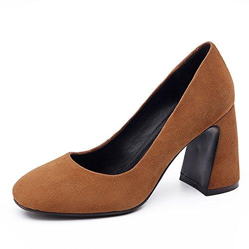 Con De Color Mujer E De Zapatos La Heel El Shoes Gruesos Jefe Solo Mujer De Zapatos High Zapatos Otoño caramelo Invierno GAOLIM Mujer qxP016zz