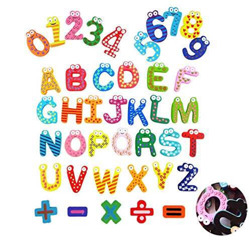 Novelty House Wooden Magnetic Alphabet Letters with Full Back Magnetic Refrigerator Cartoon Number ABC Puzzles 41pcs for Fridge Kids Toddlers