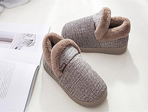 W&XY Men's Winter Warm Slippers thick Padded plush fleece Indoor Cotton Shoes Non Slip Sole , 43