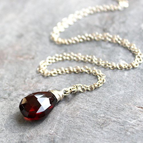 Garnet Necklace Sterling Silver Wire Wrapped Pendant Faceted January Birthstone Dark Red 18 Inch