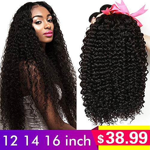 CLAROLAIR Brazilian Kinky Curly Hair Unprocessed Brazilian Virgin Human Hair Weave Extensions Brazilian Unprocessed Virgin Kinky Curly 3pcs/Pack Natural Color (100+/-5g)/pc (12 14 16inch) from CLAROLAIR