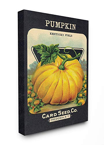 The Stupell Home Decor Aged Paper Vintage Pumpkin Seed Package Stretched Canvas Wall Art 24 x 30 Multi-Color