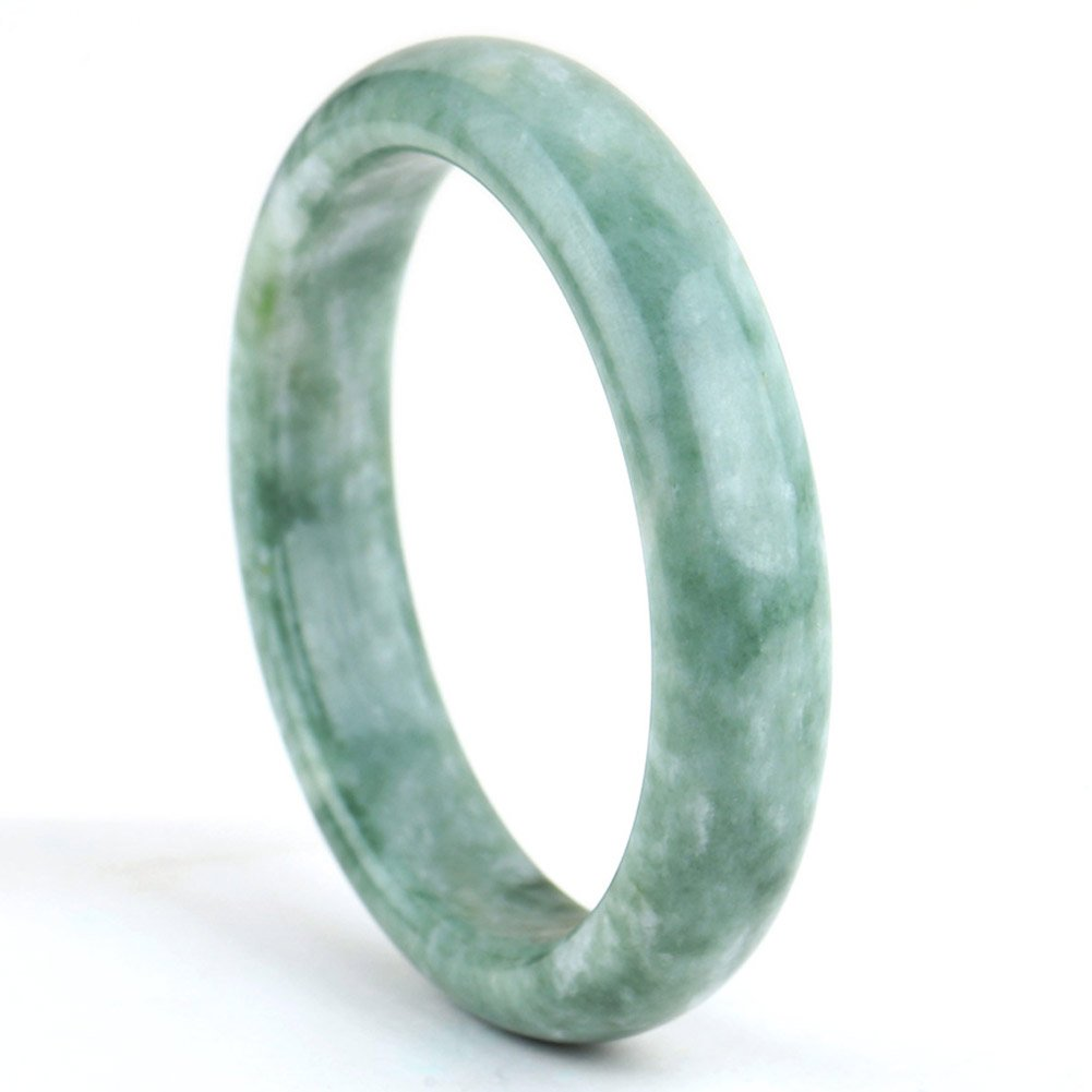 Auspicious Cloud Natural Calcite Jade Bangle Bracelet For Womens Green Color (X-Large Size(64-66))