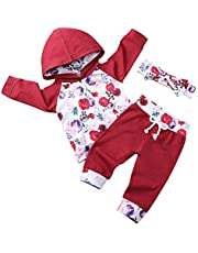 RCPATERN Toddler Newborn Baby Girl Outfits Fall Infant Clothes Set Long Sleeve Floral Hoodie Sweatshirt + Pants + Headband 3Pcs