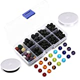 Arts & Crafts : Lava Bead Kit, 300 Black Colored Loose Volcanic Lava Rock Stone Beads Balls Kit | 21 Chakra Beads | 2 Crystal Strings Set Authentic Genuine Bulk Wholesale for Essential Oil Jewelry Making by Afantti