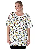 Disney Womens Plus Size T-Shirt Mickey & Minnie Mouse All Over Print (White, 3X)