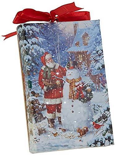 RAZ Imports Santa and Snowman LED Canvas Print/Ornament — Lighted Picture of Santa w/a Snowman — 4'' x 6'' with Timer and On/Off Switch by RAZ Imports