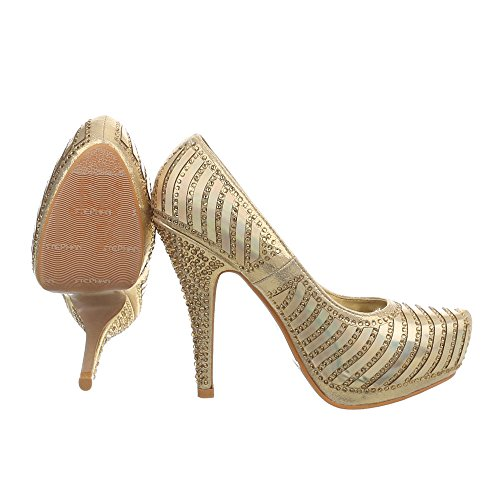 Ital-Design High Heel Pumps Damenschuhe Pfennig-/Stilettoabsatz Heels Gold V-11