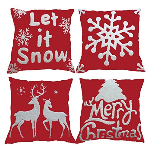 """HOSL SD35 Embroidery Embroidered Merry Christmas Series Blend Linen Throw Pillow Case Decorative Cushion Cover Pillowcase Square 18"""" - Set of 4"""