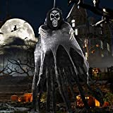 OurWarm 5.5ft Halloween Ghost Hanging Decorations, Large Hanging Grim Reaper with Realistic Skull for Scary Halloween Indoor Outdoor Yard Decorations Prop
