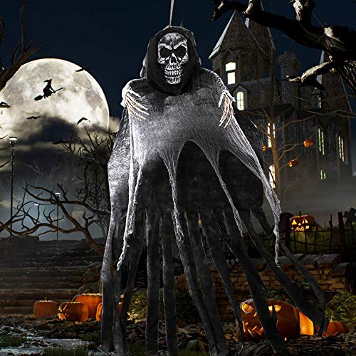 Easy Scary Halloween Decorations (OurWarm 5.5ft Halloween Ghost Hanging Decorations, Large Hanging Grim Reaper with Realistic Skull for Scary Halloween Indoor Outdoor Yard Decorations)