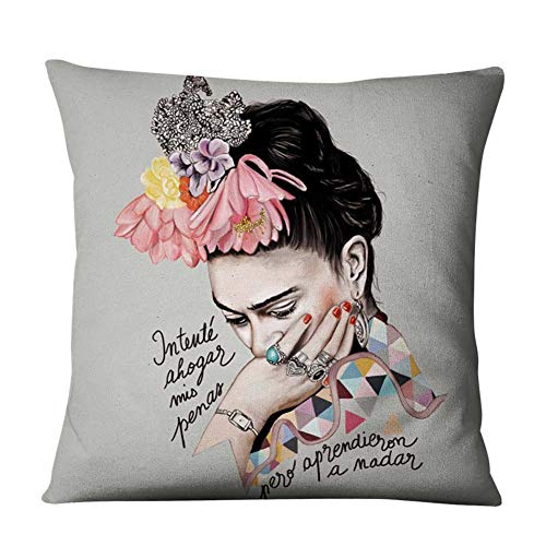 (Aristory Oil Printed Self-Portrait Decorative Square Throw Pillow Case, Cotton Linen Decorative Throw Pillow Case Cushion Cover for Couch, Sofa, Bed, 18