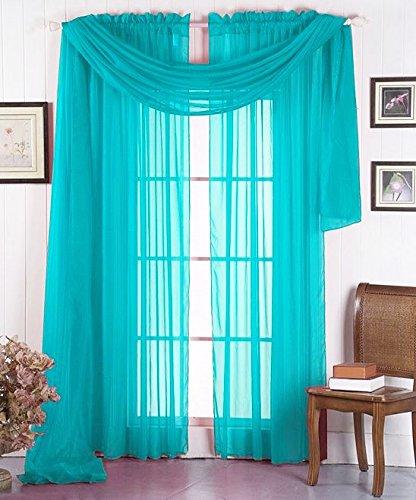 GorgeousHomeLinen 3PC Turquoise 2 Sheers 84″ length Rod Pocket Window Curtain Panels & 1 Elegant Swag Scarf Valance 216″ length
