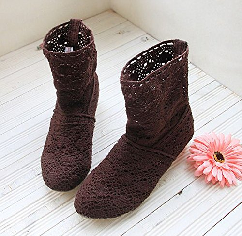 Mid Boots Autumn Out Lace Women Hollow Crochet Brown Boots Summer Minetom calf Heels Chunky Ankle Boots Summer Hollow qXE4nY