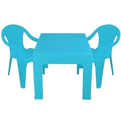 Kindertisch mit 2 Stühlen in Rattanoptik mit Farbwahl - Kinder Sitzgruppe - Kindertisch - Kinderstuhl (Blau)